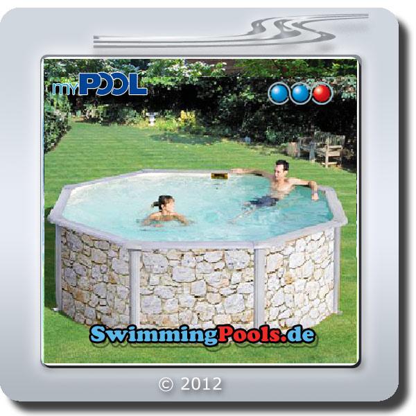 Rundbecken set in steinoptik poolset feeling for Stahlwandpool 360 x 120
