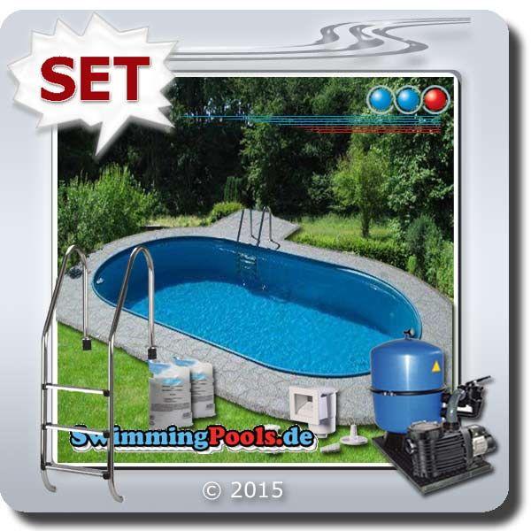 Trendig Ovalbecken Set 8 x 4 m Tiefe 1,2 m | Pool oval XD26