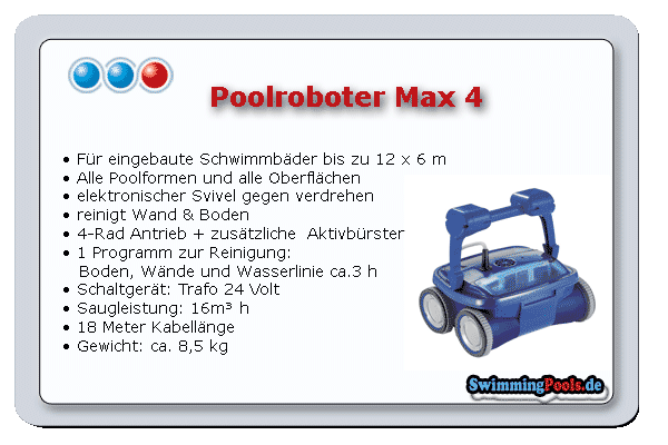 Poolroboter max 4 rad wand bodensauger for Swimming pool ausverkauf