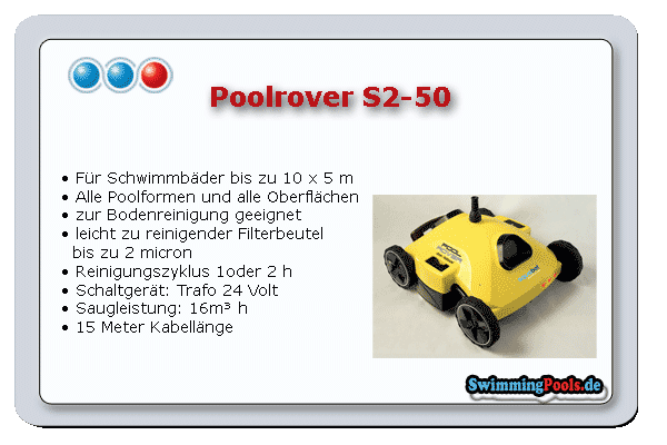 Poolrover s2 50 pool bodensauger for Swimming pool ausverkauf